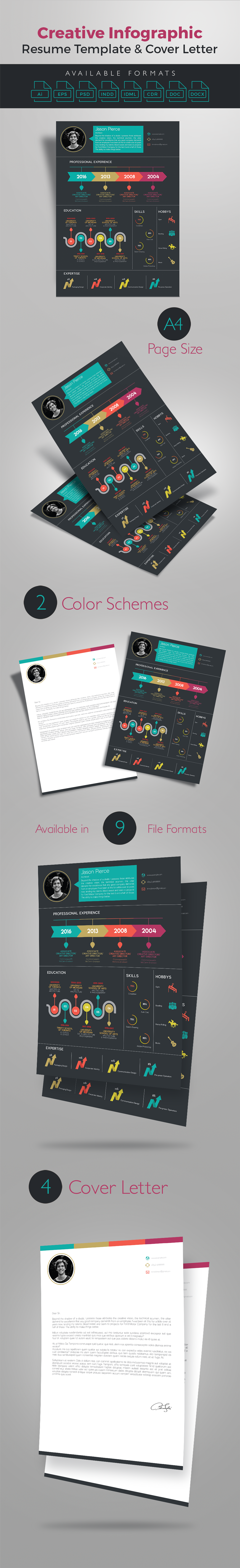 Creative Infographic Resume Template With Cover Letter  Premium Resumes