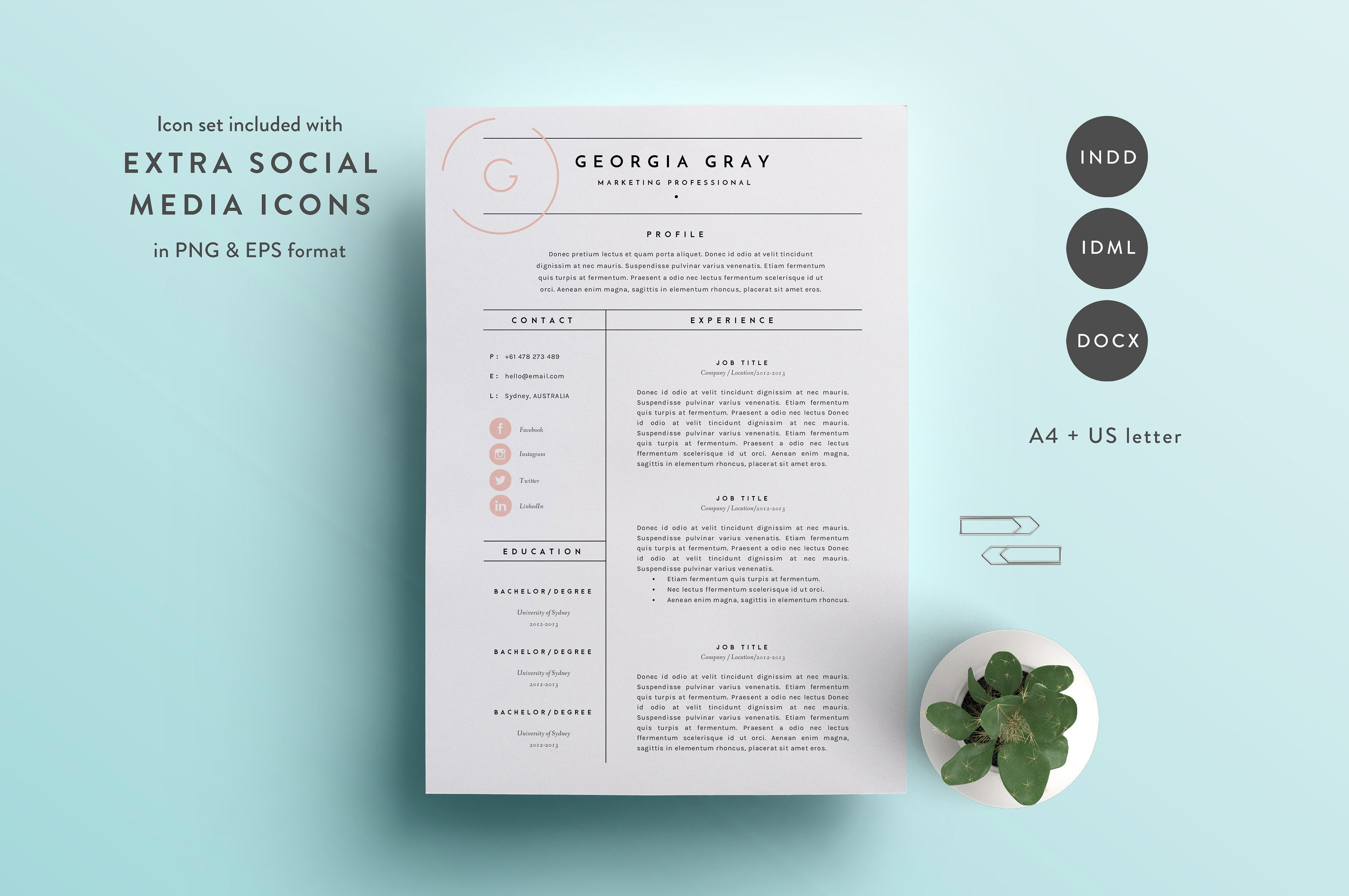 Great Resume Template 3 Page | CV Template In Cute Resume Templates