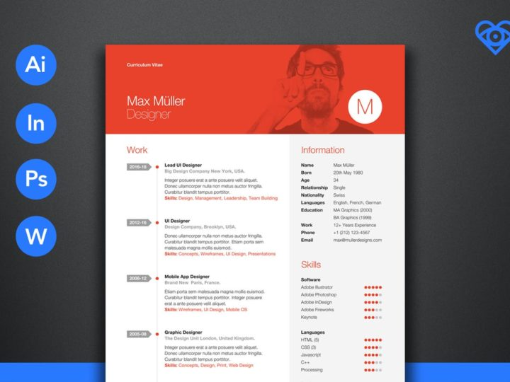 Neue Swiss Resume CV Chronological Illustrator