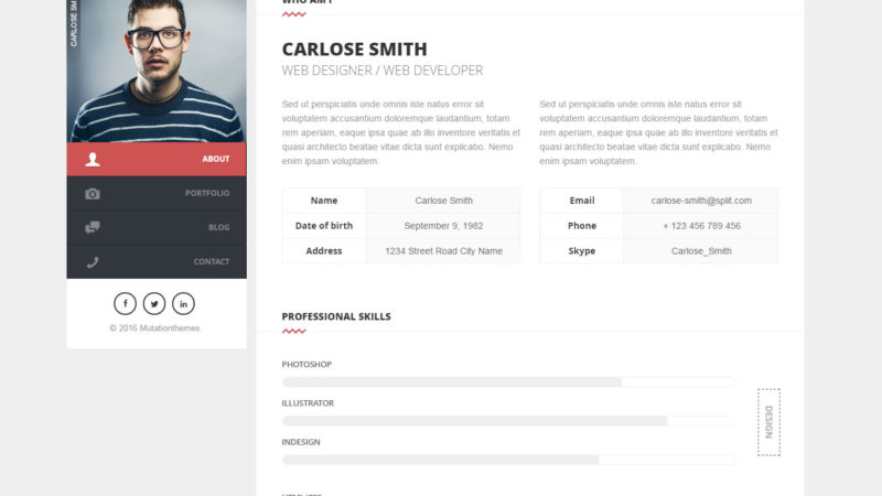 Split Wordpress vCard Theme