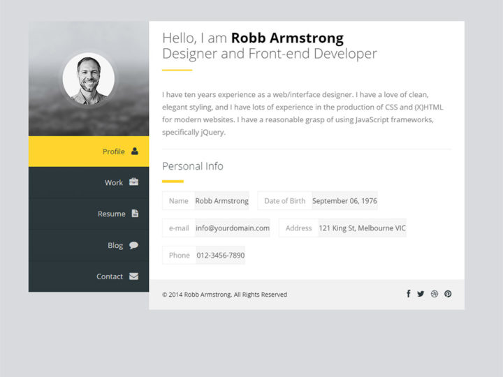 WordPress vCard Resume Theme