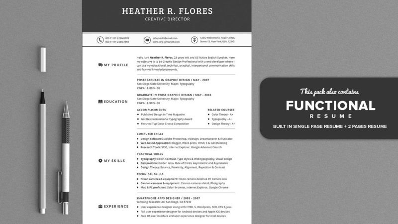functional resume layout