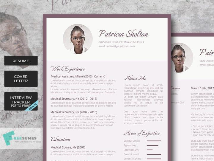 purple resume template