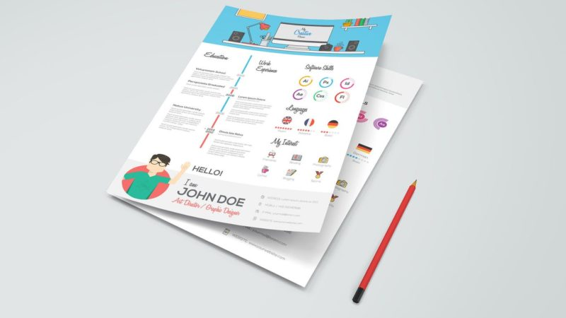 simple flat infographic resume