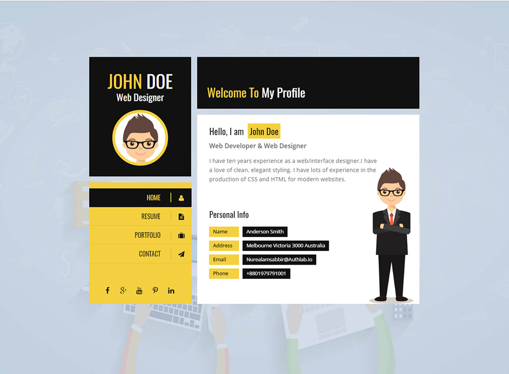 Yellow Vcard Template Premium Resumes