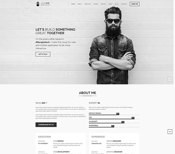 Premium Wordpress Vcard Resume Templates